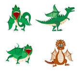 Much dragons on white background — Stock vektor