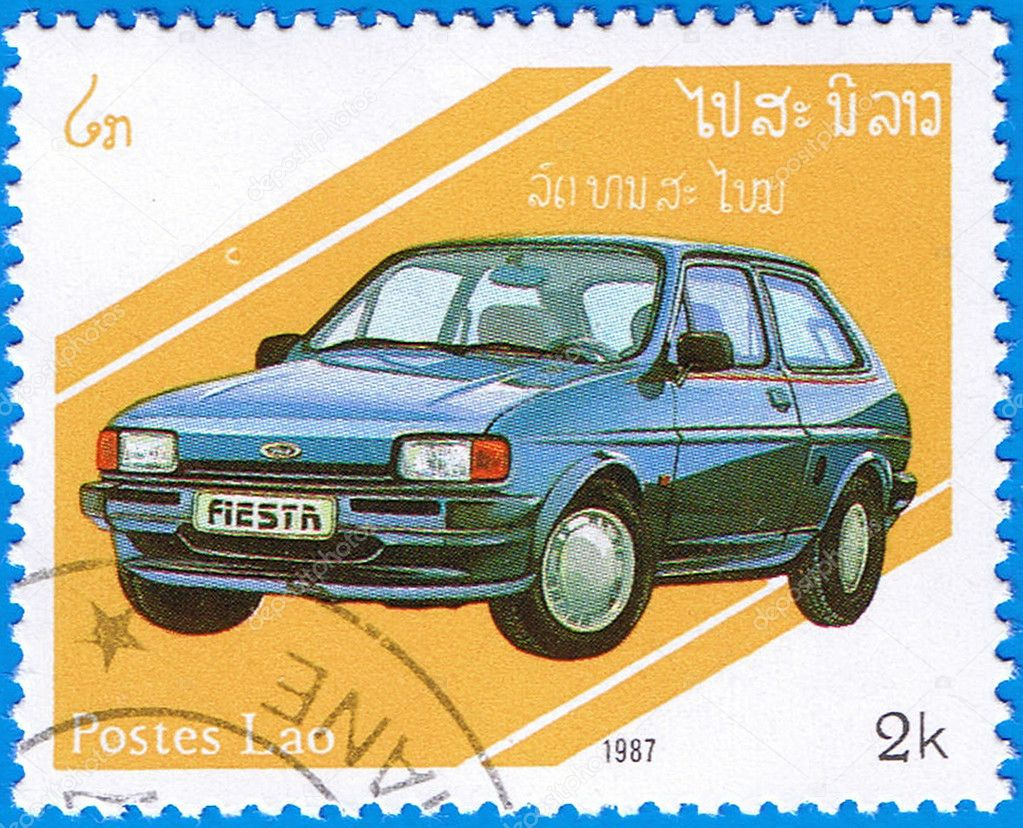LAOS- CIRCA 1987: A stamp printed in Laos shows Ford Fiesta Mark 2, series is devoted to cars, circa 1987  Stock Photo #9063151