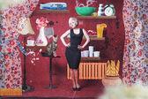 Estilo collage con mujer joven — Foto de Stock