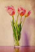 Image with pink tulips — Stock Photo