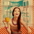 Beauty young woman with yellow cup — Stock Photo #9638636