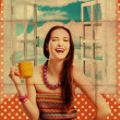 Beauty young woman with yellow cup - Stockfoto