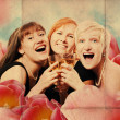Art collage with happy girls — Stock Photo