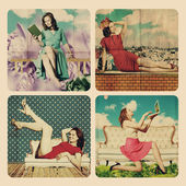 Art collage with beautiful woman — Stock Photo