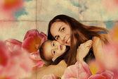 母と息子の芸術のコラージュ — ストック写真