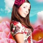 kunst collage met mooie vrouw in tulpen — Stockfoto