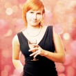 Beauty young woman with wine on the party — Stock Photo