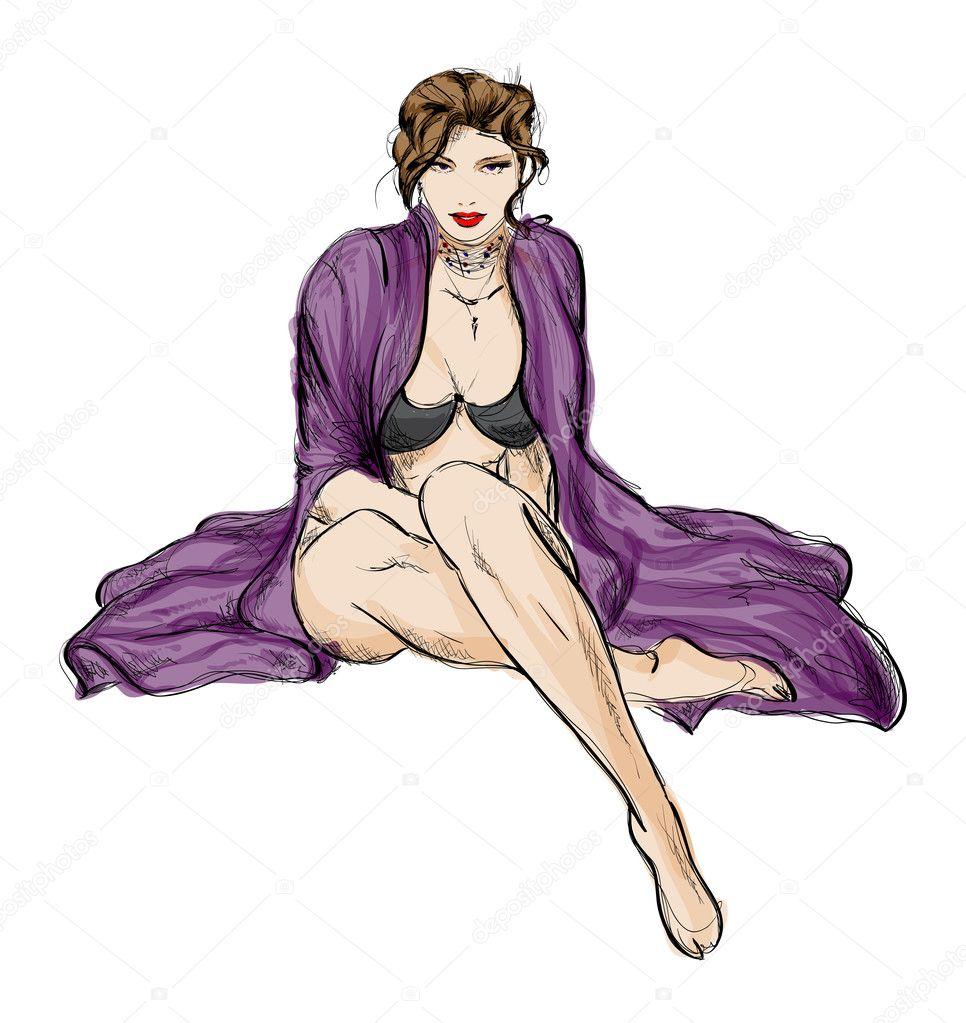 时尚的女孩.手绘时装模特