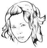 Piękna twarz dziewczyny — Wektor stockowy