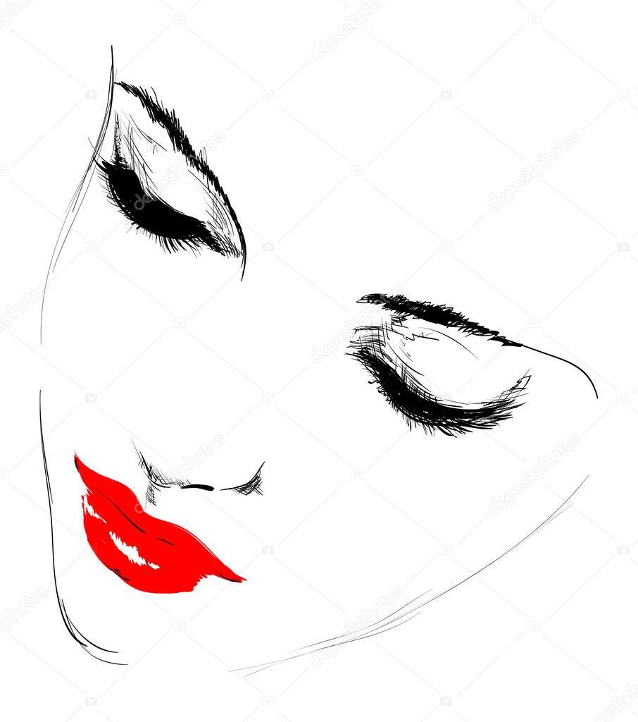 Рисованные контуры лица