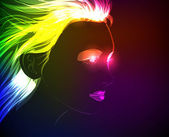 Moda çizilmiş bir neon modelinden. hafif bir kız — Stok Vektör