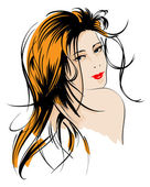 Rosto de menina de beleza — Vetorial Stock