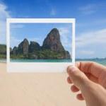 Hand With Photo of Beach — Stock Photo