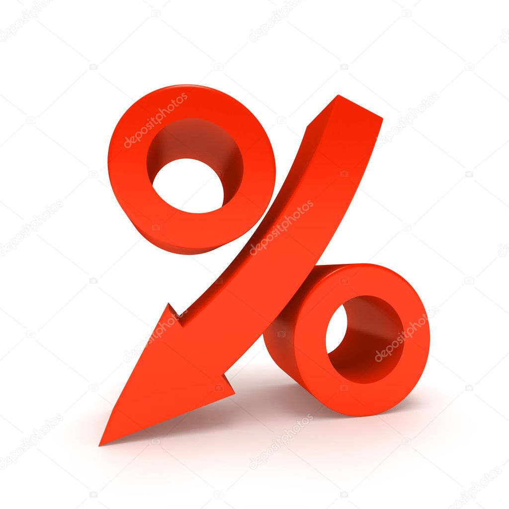 Percentage Sign Moving Down, Isolated On White. — Stock Photo #10623934