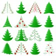 Christmas trees collection — Imagen vectorial