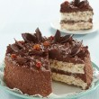 Stock Photo: Chocolate and hazelnuts cake