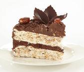 Chocolate and hazelnuts cake, selective focus — Stock Photo