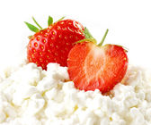 Strawberries and cottage cheese — Stock Photo