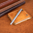 Business  still-life with leather organizers and a pen — 图库照片