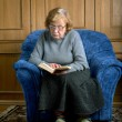 Grandmother sits in an armchair and reads — Stock Photo #10560366