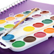 Stock Photo: Water colour paints brush albums for drawing