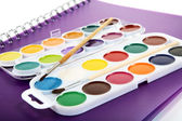 Barwa wody farby albumy szczotka do rysowania — Zdjęcie stockowe