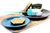 Kitchen sponges for ware washing on a white — Stock Photo