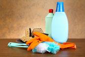 Guanti, spugna, spazzola per lavaggio ware — Foto Stock