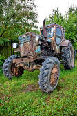Old tractor against trees — Stock Photo