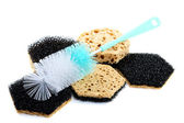 Sponges and brush for ware washing isolated — Stock Photo