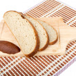 Still-life with bread slices isolated on a white — Stock Photo