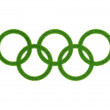 Green Olympic rings isolated — Stock Photo #10165517