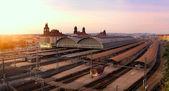 Sunset on railway station — Stock Photo