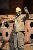 Man in radiation protection suit — Stock Photo