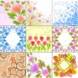 Set of floral backgrounds — Stockvektor