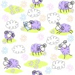 Seamless pattern with cute sheeps — Stock Vector #10050637