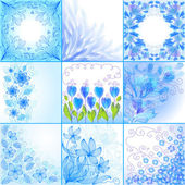 Set of blue floral backgrounds — Stock Vector