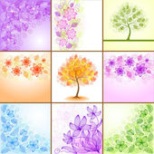 Set of vintage floral backgrounds — Stock Vector