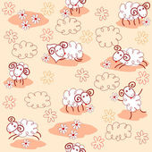 Seamless pattern with cute sheeps — Stock Vector