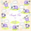 Cute sheeps - Stock Vector