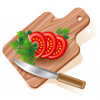 tomato on cutting board — Stock Vector