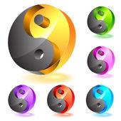 Set of glass yin-yang symbols — Stock Vector