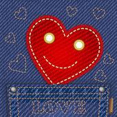 ジーンズのポケットの中のかわいい笑顔心 — ストックベクタ