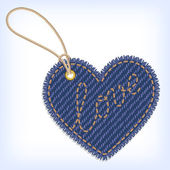Jeans heart valentine label — Stock Vector