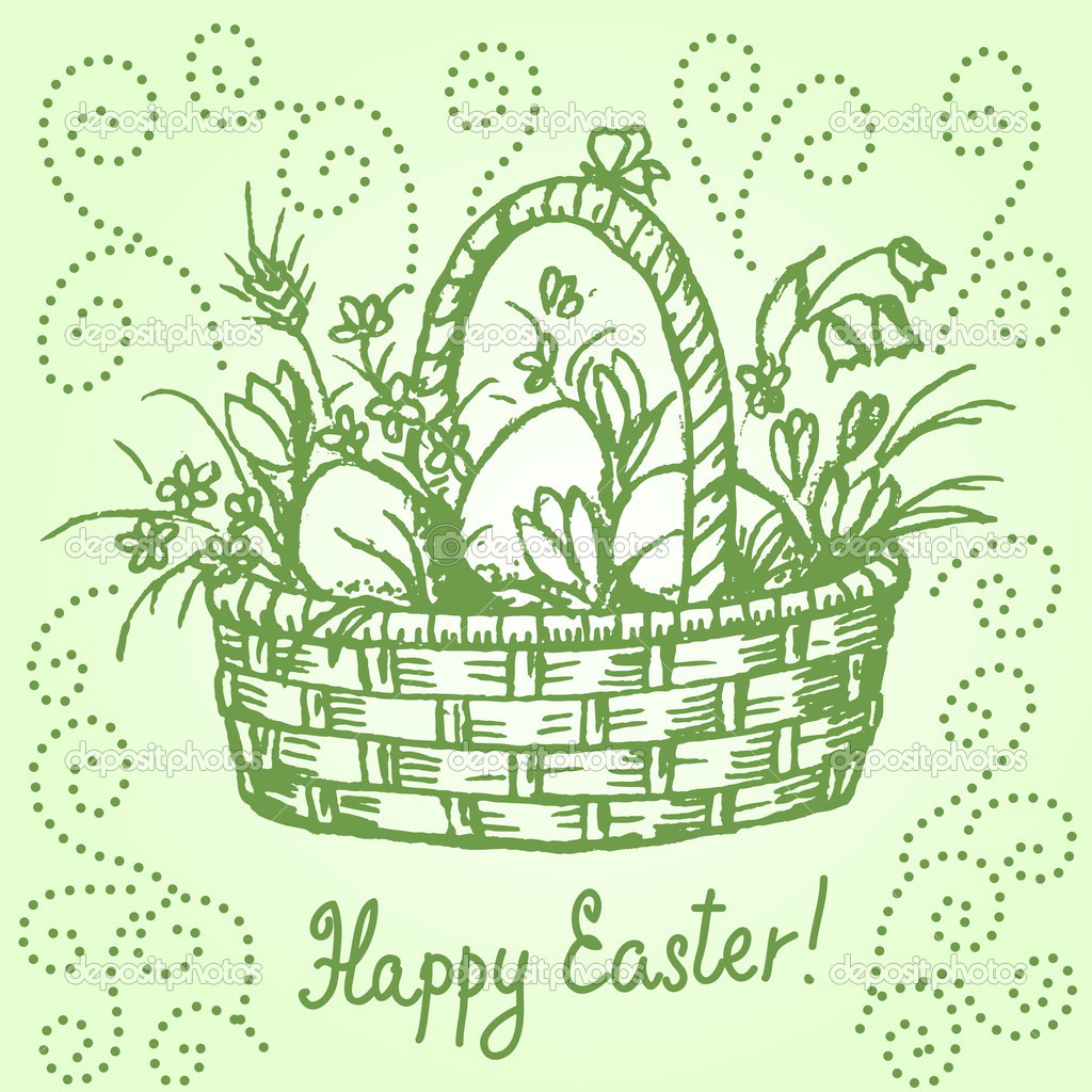 Hand drawn  illustration of easter basket in vintage style — Stock Vector #9179299