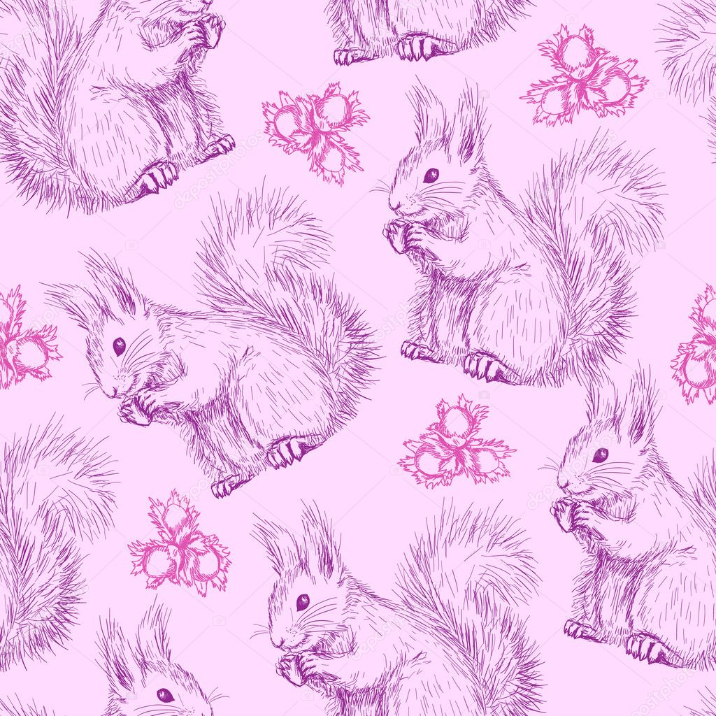 Seamless pattern with Cute fluffy squirrels and nuts — Stock Vector #9180125