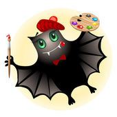Cute bat artist — Stock Vector
