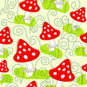 Seamless pattern with mushrooms — Stock Vector