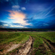 Countryside landscape with dirt  road - Stock Photo
