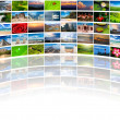 Abstract multimedia background composed of many images with copy - Foto Stock